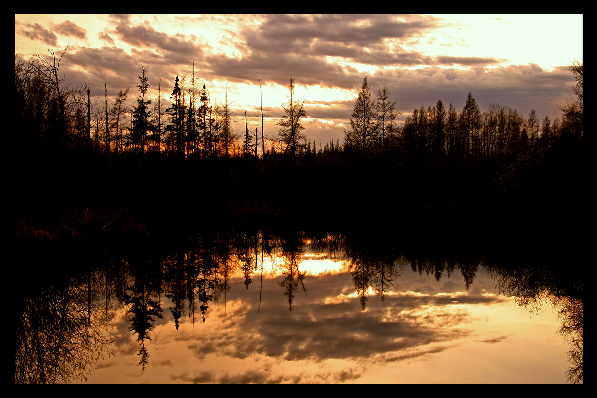 sunset reflections in a small pond author pluskwi pluskwik paul
