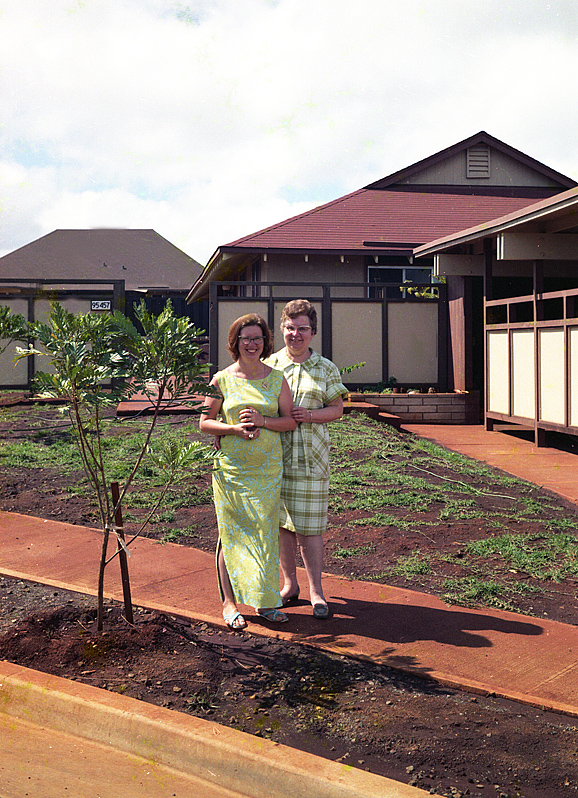 carole and madeline in front of our house author siegel honolulu gerry