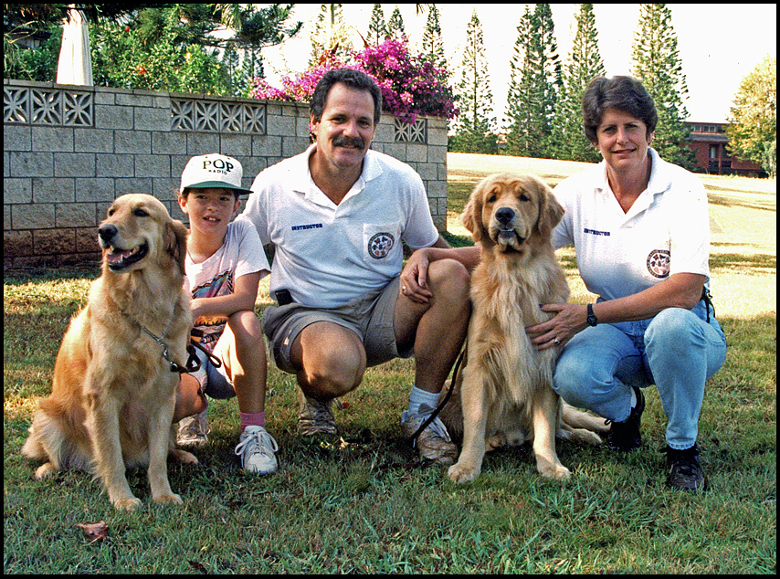 ted peggy and two of their golden retrievers ca siegel honolulu gerry