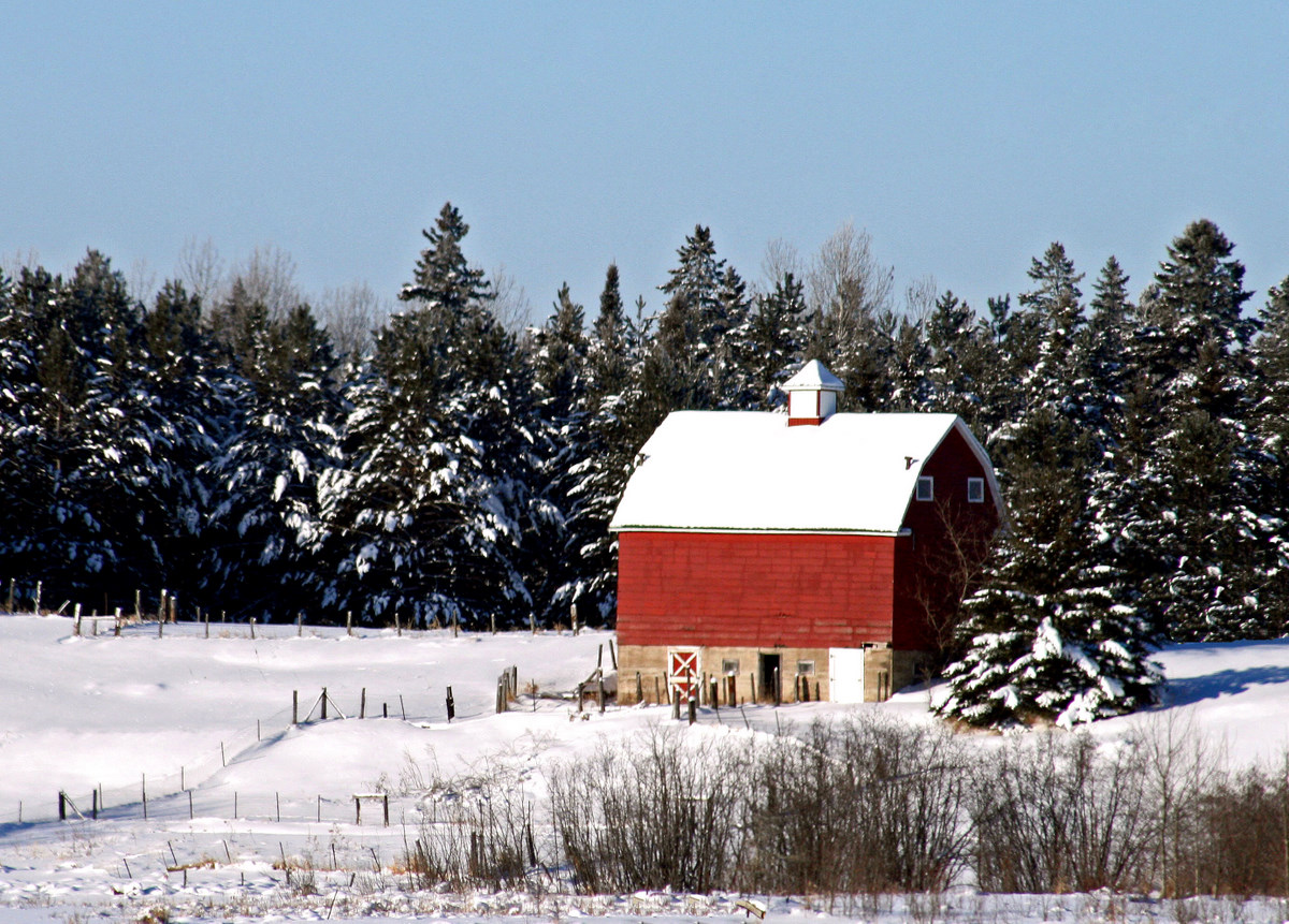 old red barn in the winter author pluskwik paul