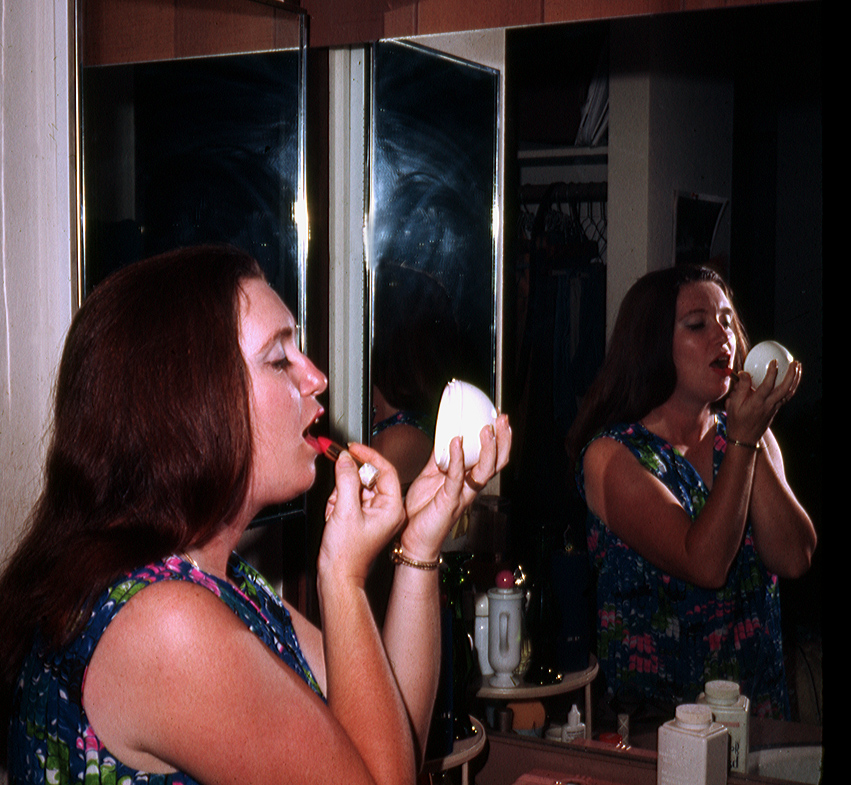 make up and cup mirror shot of carole in mililani siegel honolulu gerry