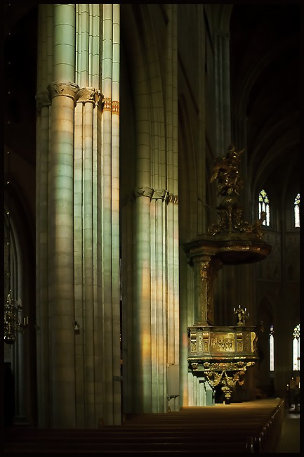 light thru stain glass on gothic pillars author d downs jim