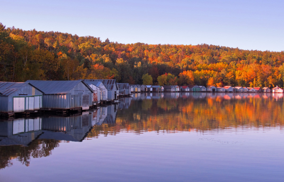 old boat houses fall color reflected author plusk pluskwik paul