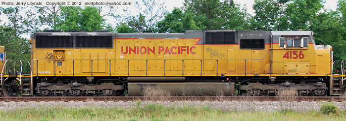 A Side View Of Union Pacific Up Engine No 4156 Idle In