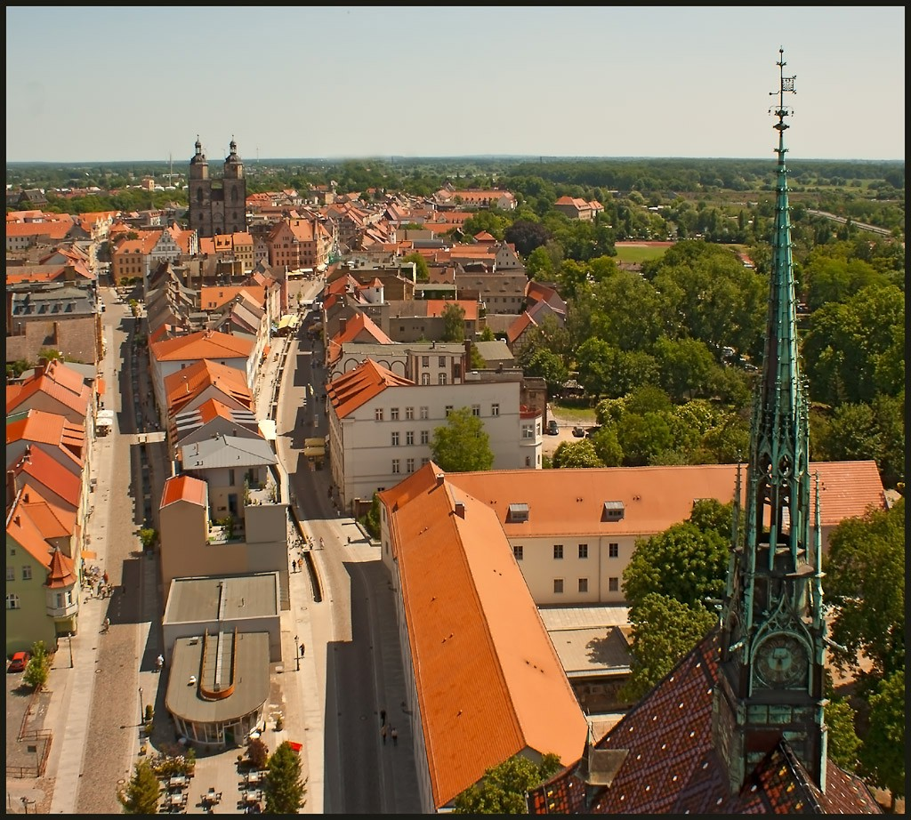view from tower of castle church wittenberg aut downs jim