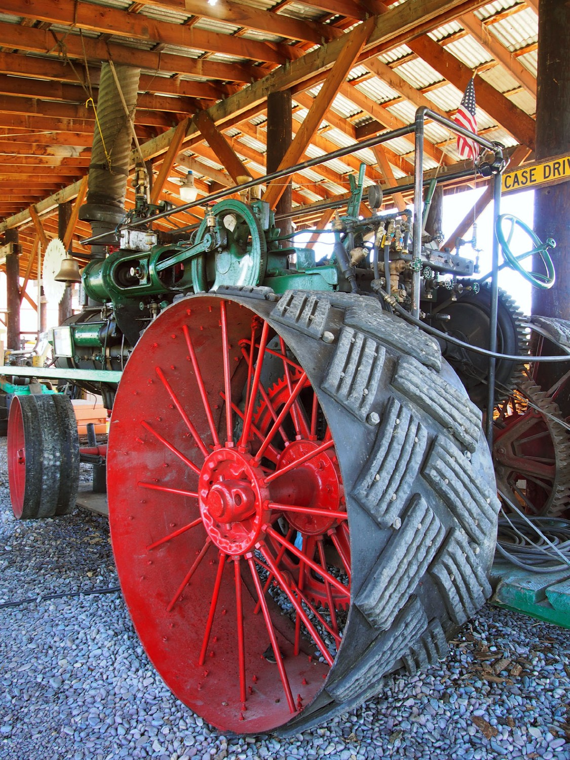 green and red logging tractor author hull ray