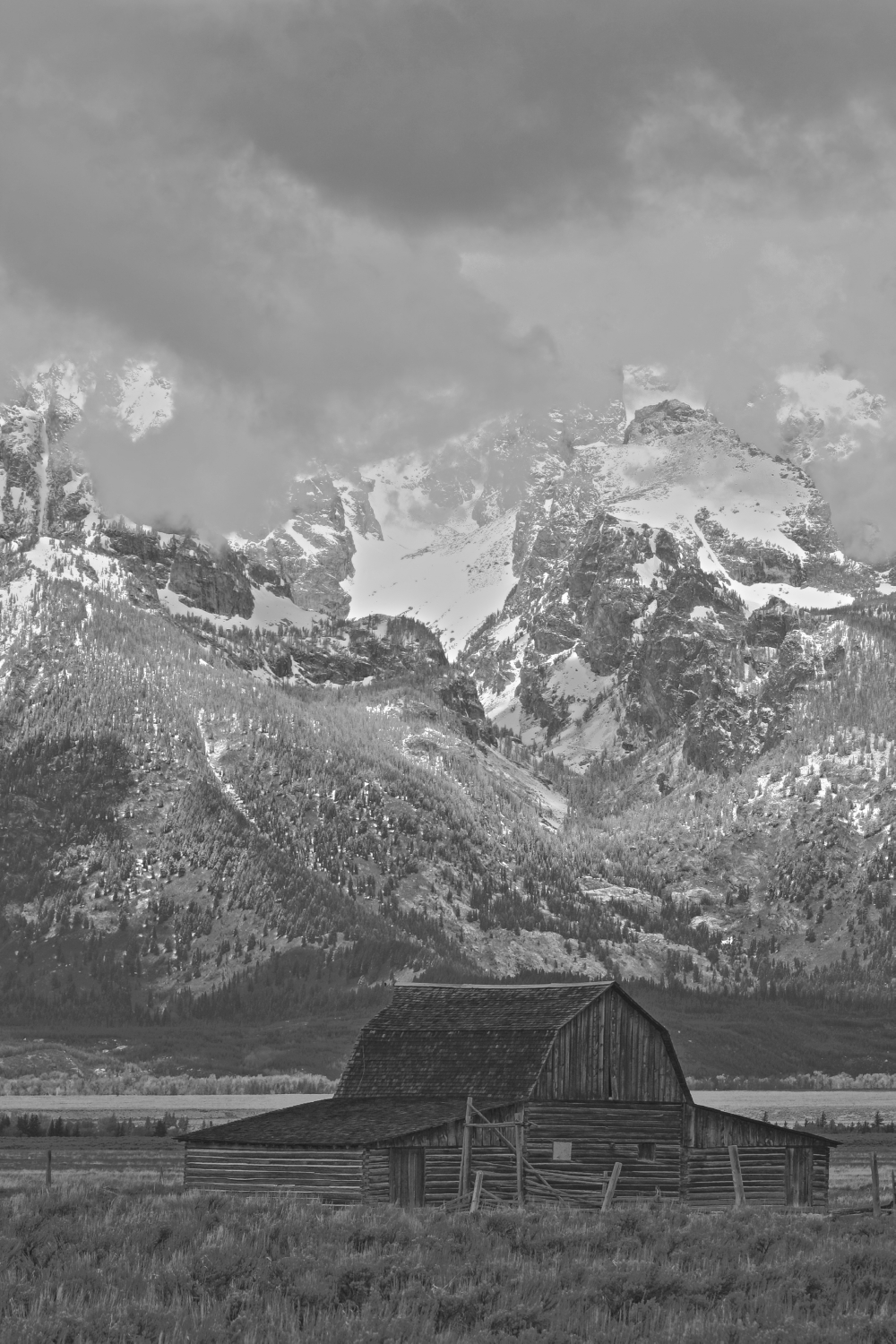 recent light snow on tetons with john moulton barn szulecki joshua