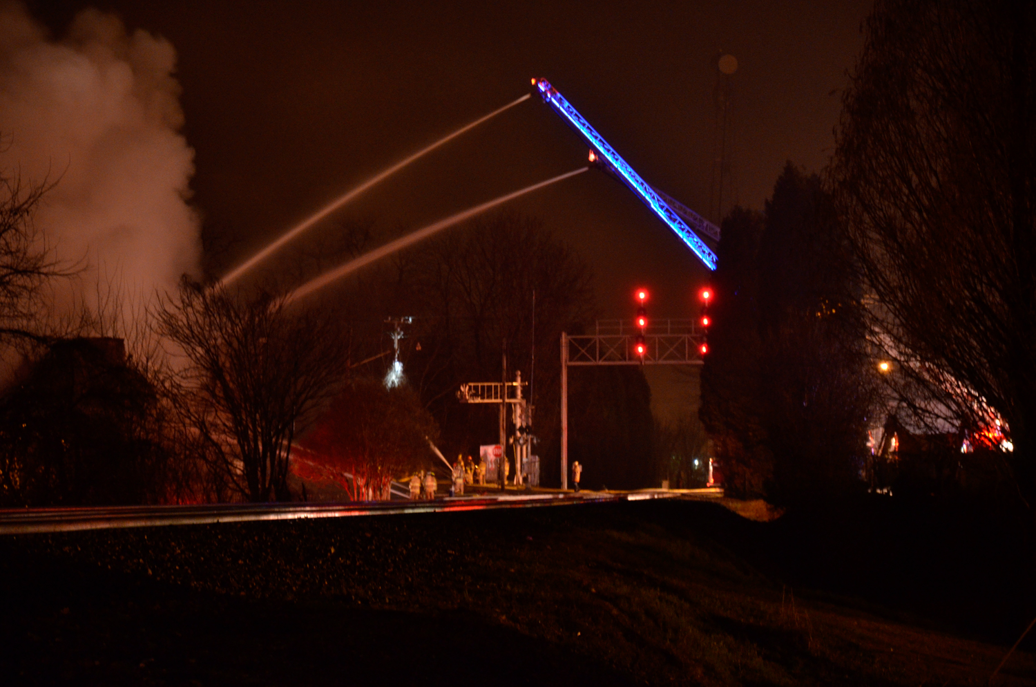 grimes mill burning two ladders shooting water acr kelly landrum