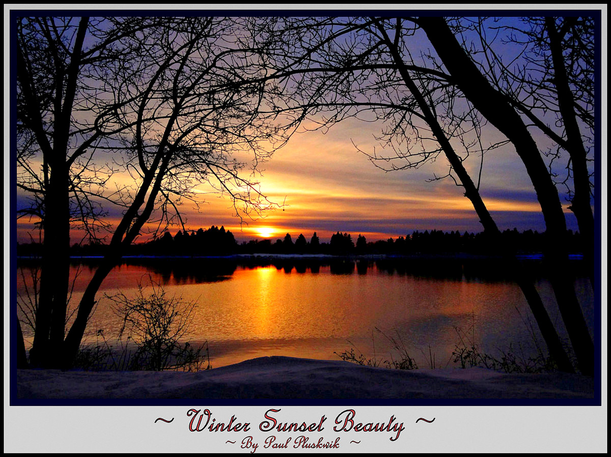winter sunset framed in by nature author pluskwik paul