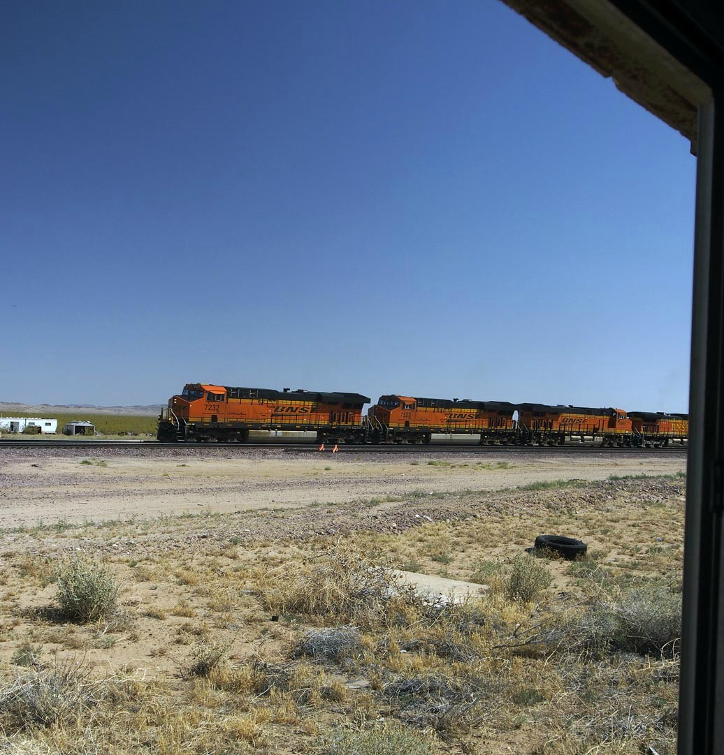 shack view bnsf freight train author hull ray