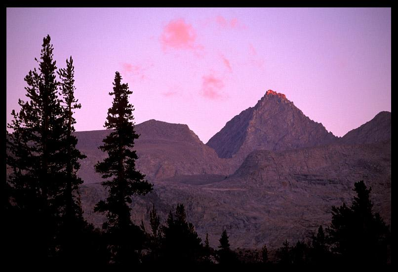 evening alpenglow near center basin jmt author er ernst brian