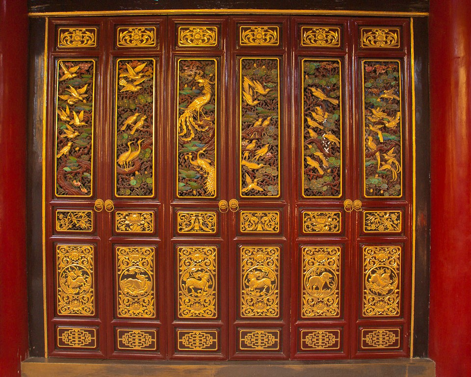 door panels qiongzhu bamboo temple large detail downs jim