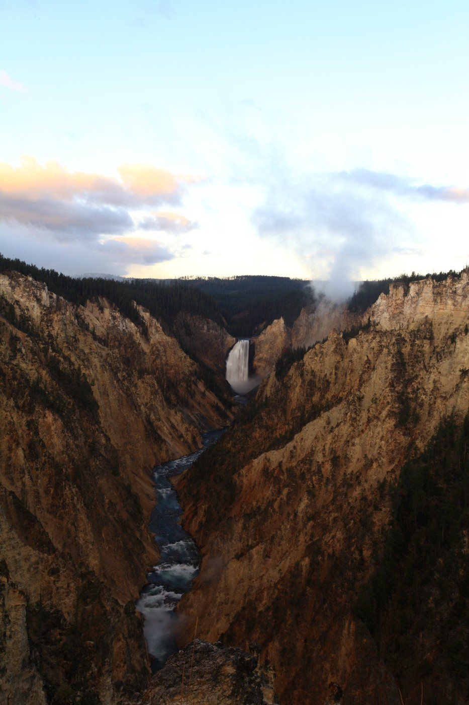 sunrise at lower falls of the yellowstone grand szulecki joshua