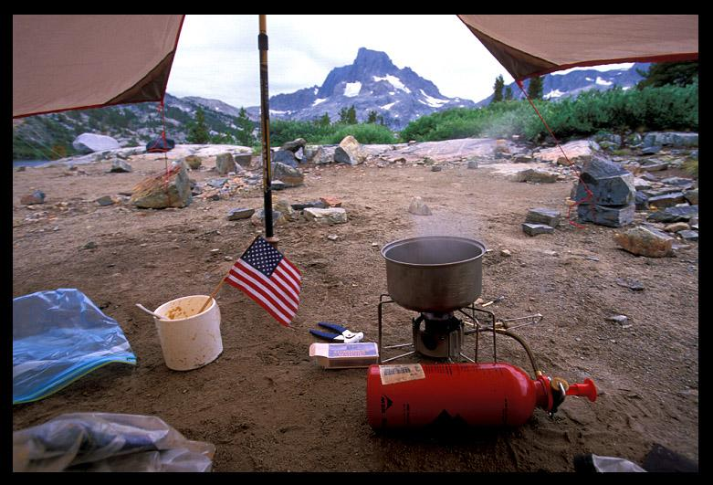 tarp life cooking breakfast at thousand island lak ernst brian