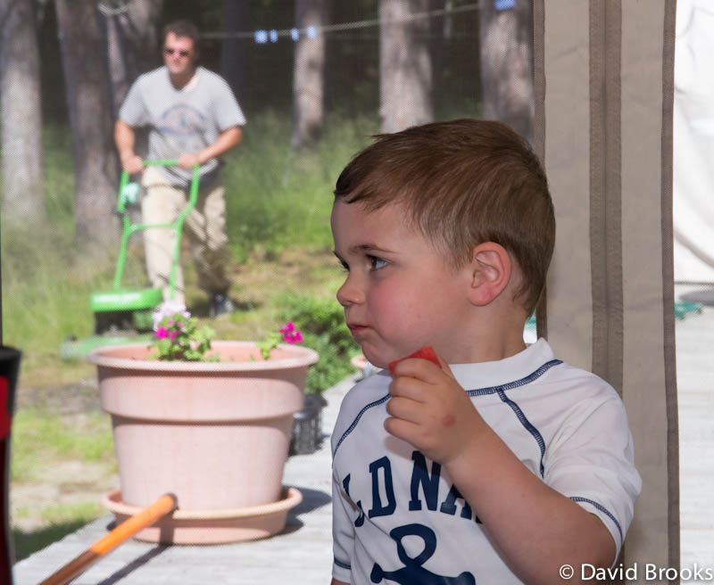 eating watermelon while dad works author brooks d david