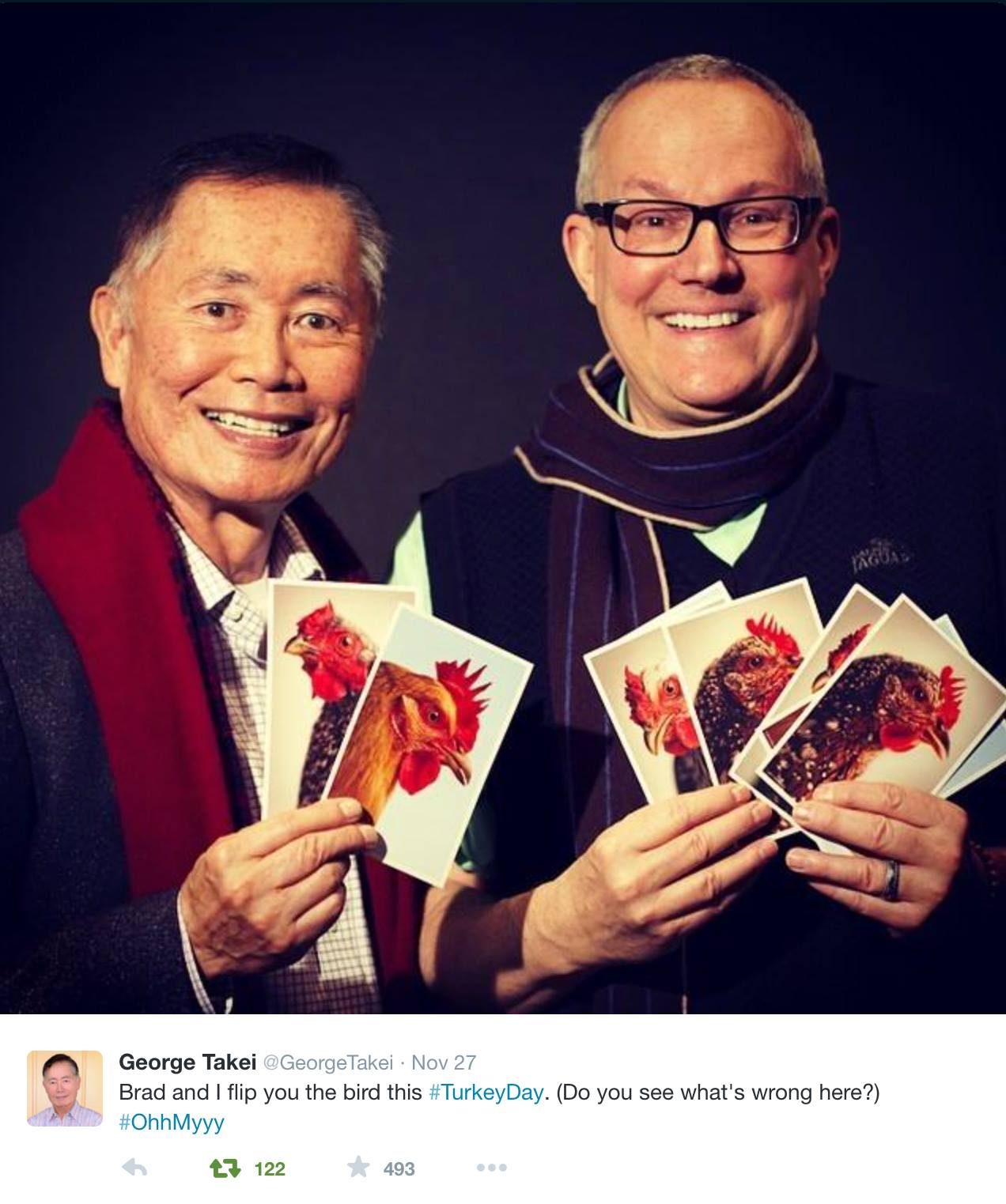 george brad takei s thanksgiving card ohmyyy aut walker clay