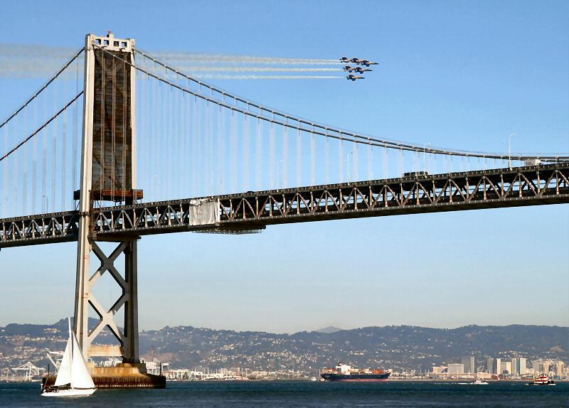 blue angels passing by the bay bridge author pap papai ken