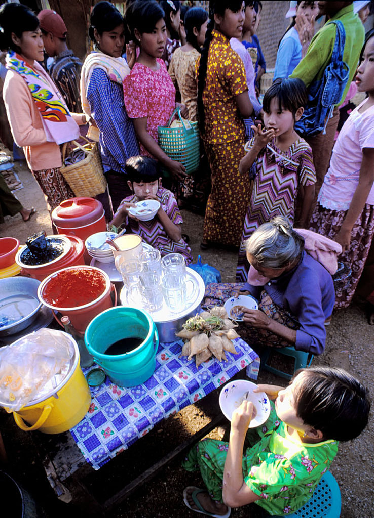 lunch on bagan market myanmar author h michael