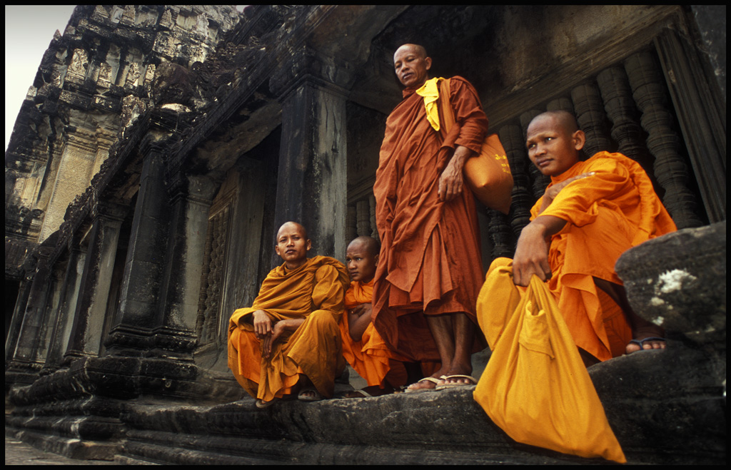 monks at angkor wat temple author h michael