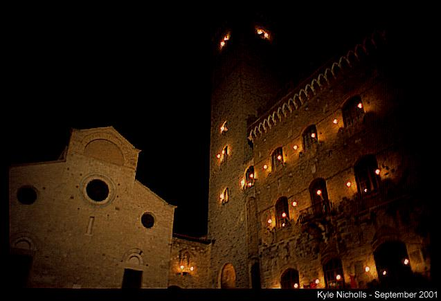 san gimignano town square at night author nicholl nicholls kyle