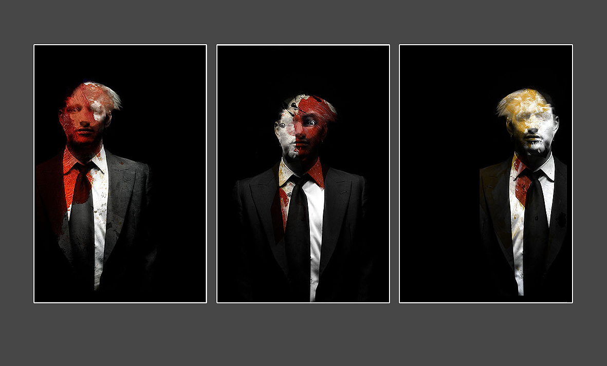 triptych figures in red yellow author siro anton seth