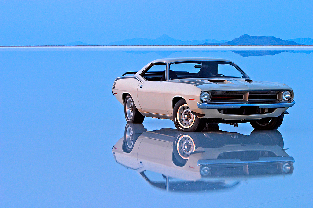 plymouth cuda on the bonneville salt flats after evans greg