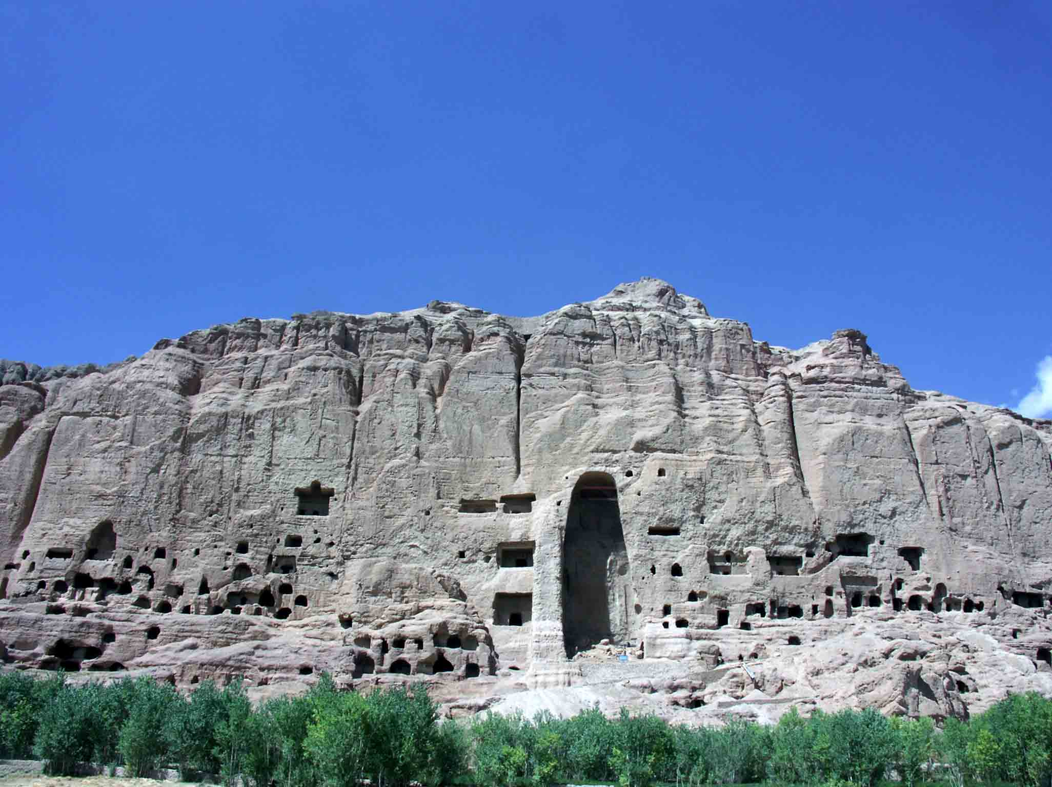 one of the destroyed budda niches at bamiyan afgha downs jim