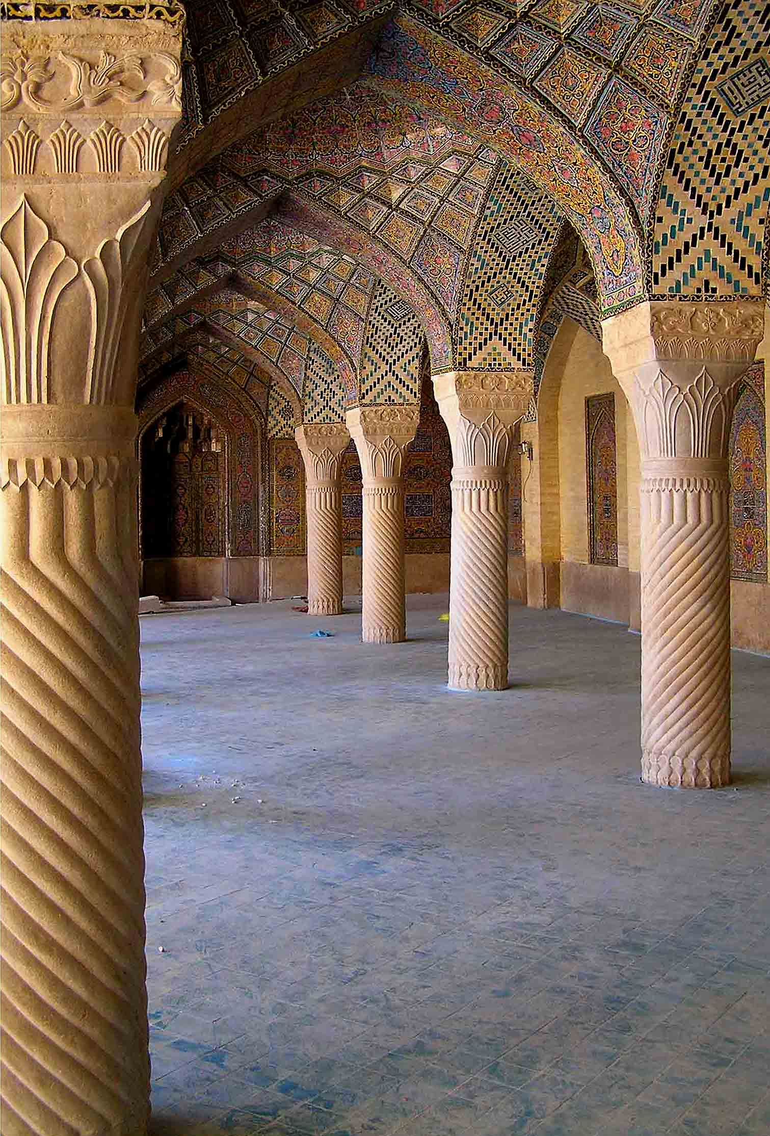 interior of historical mosque is shiraz iran auth downs jim