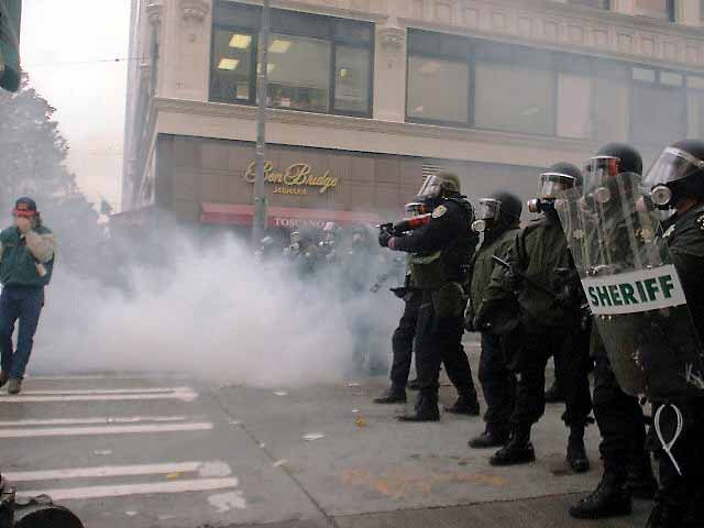 wto riot tear gas author j seattle tom
