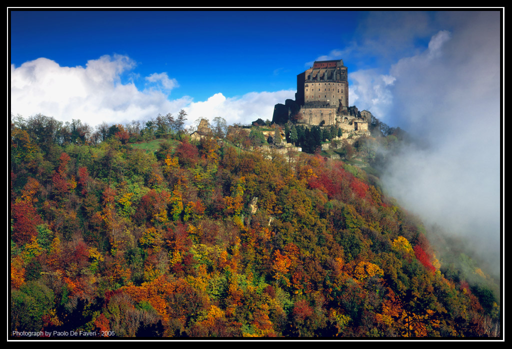 cloudy autumn morning the sacra di san michele pie de faveri paolo