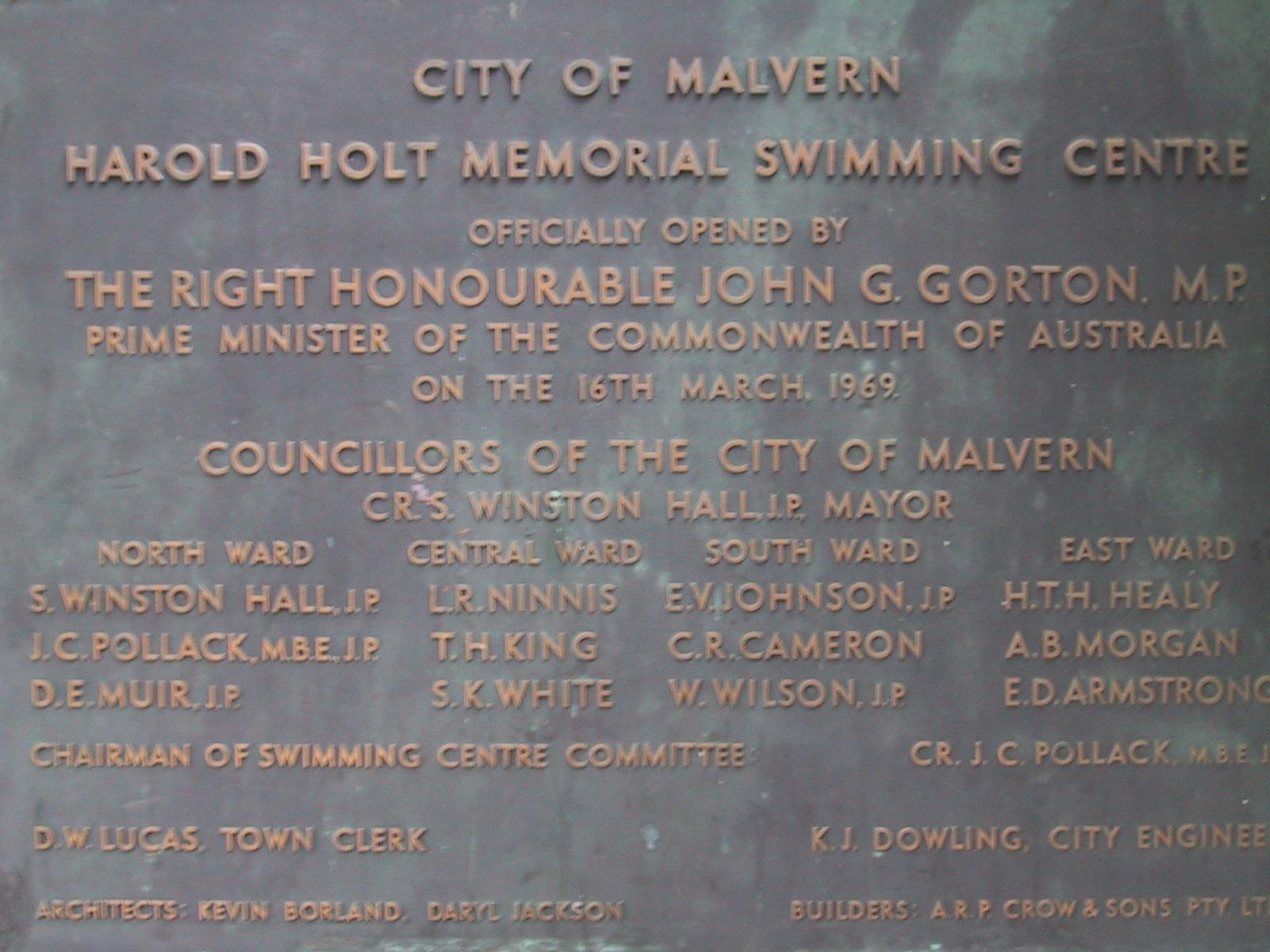 plaque harold holt swimming pool the is a mem greenspun philip
