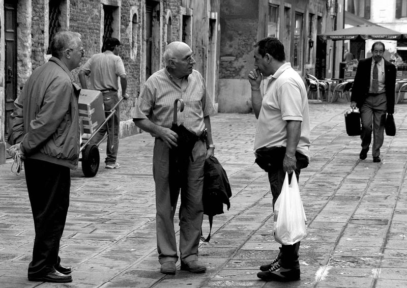 old friends chatting in venice author baker harr harry