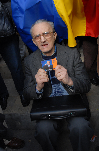 at a rally in support of the president romania ursu mihail