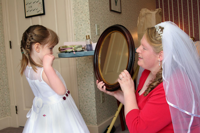 bride shows daughter herself in the mirror autho root josh
