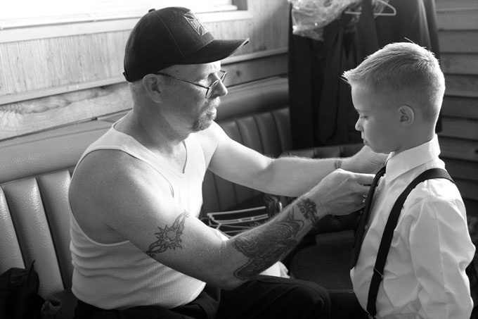 grandpa helps the ring bearer with his tie autho root josh