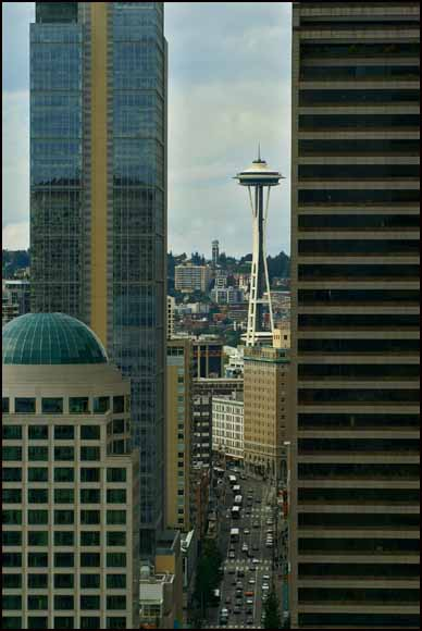 the space needle viewed from a tight author downs jim