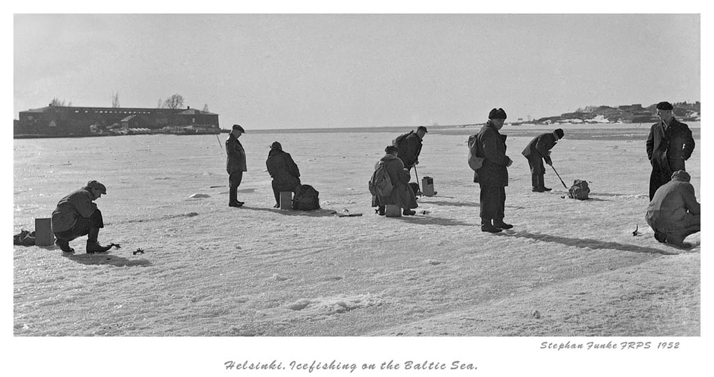ice fishing in front of kaivopuisto author funke stephan