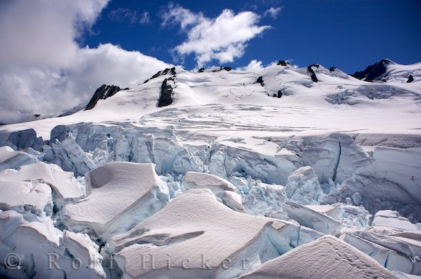 glacier in the alps of south island new zea hicker rolf