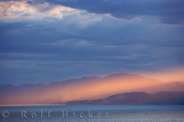 sunset over south bay and the kaikoura coast east hicker rolf