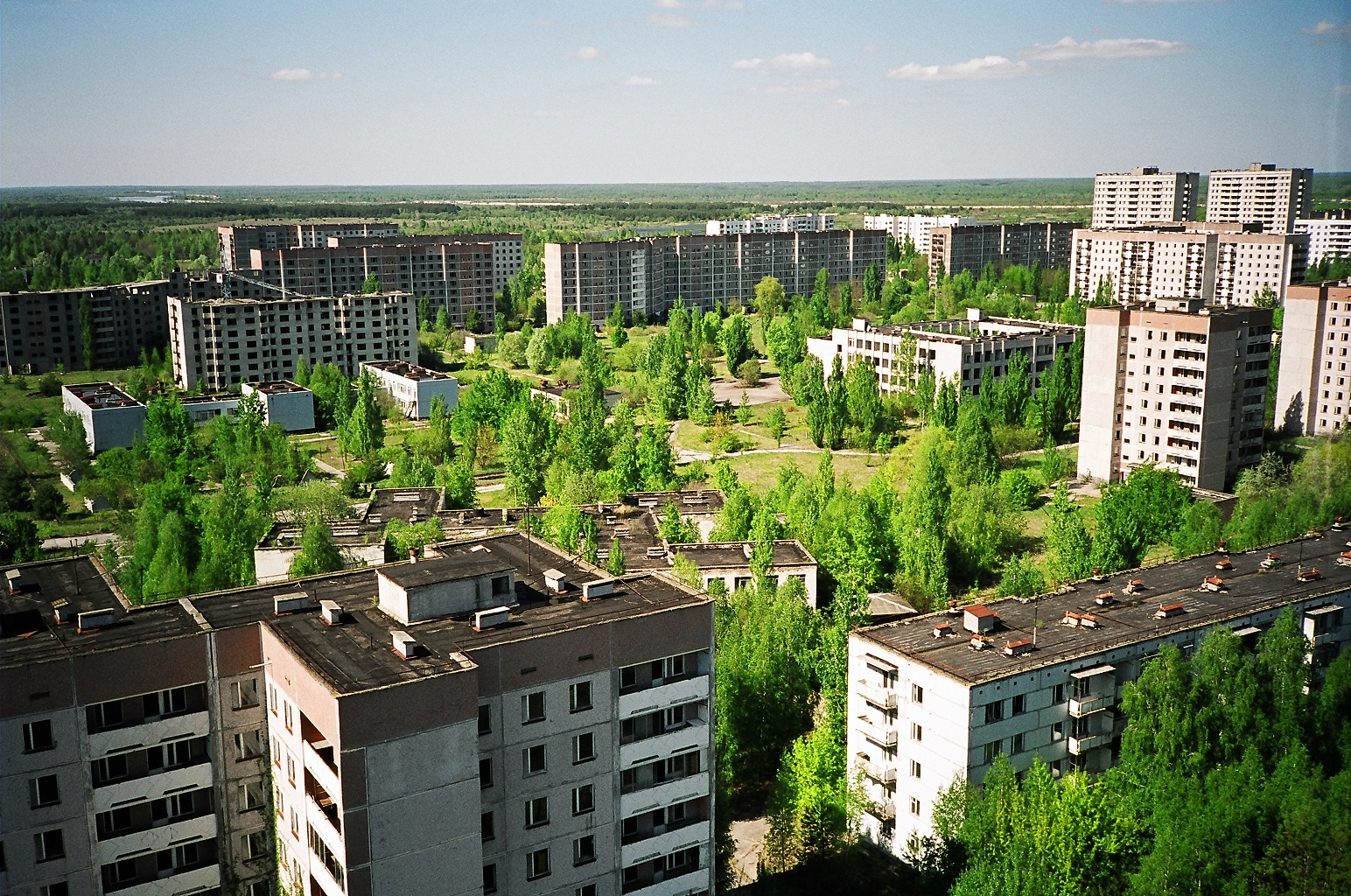 aerial view over pripyat towards the marshes aut rance ian