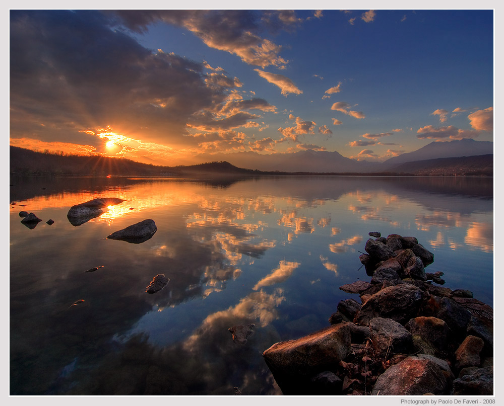 the viverone lake at sunset author de faveri pao paolo