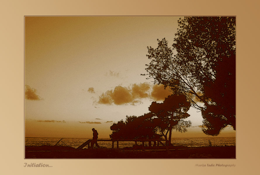 posterized view of calm evening in sepia tone and tadic maria