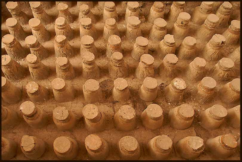 corked bottles partially buried in lava flow auth downs jim