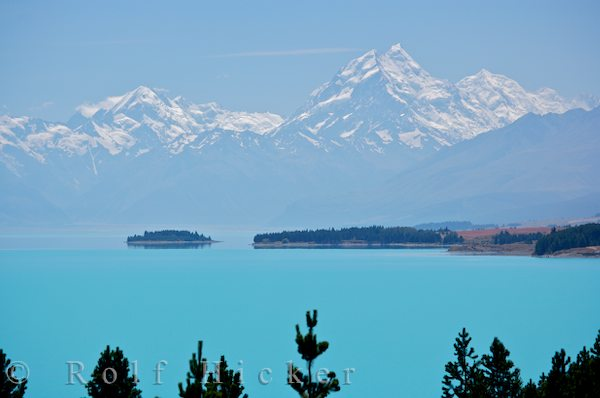 mount cook and the southern alps with lake pukaki hicker rolf