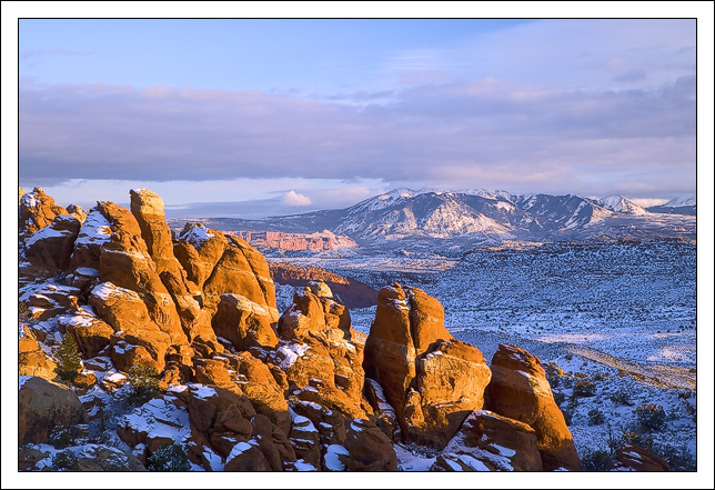 snow covered fins of sandstone in fiery furnace aw edge bret