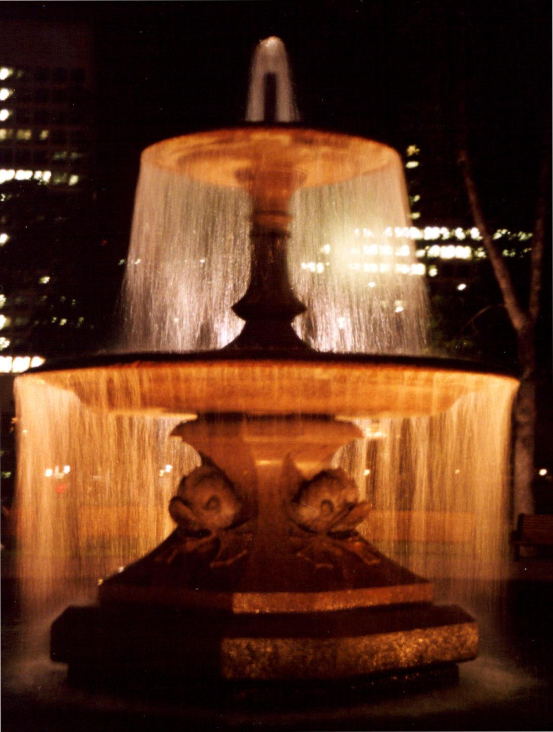 fountain at the confederation park night autho laverdiere marc andre