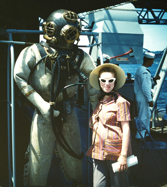 carole and diving gear on salvage vessel anchored siegel honolulu gerry