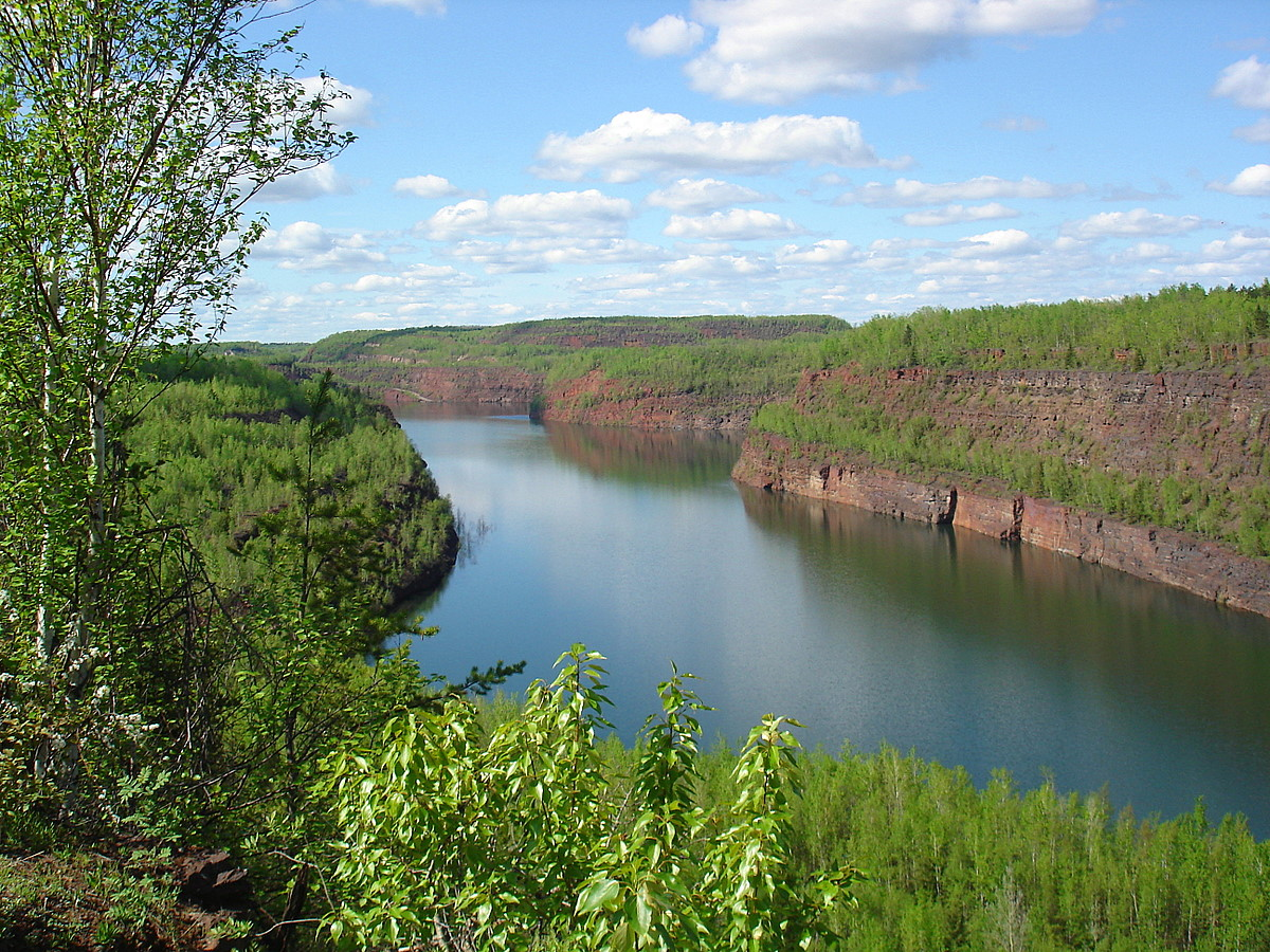 summer view of old iron ore mine pit author plusk pluskwik paul