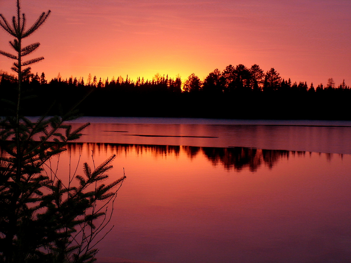 cold fall sunset with lake freezing over author p pluskwik paul