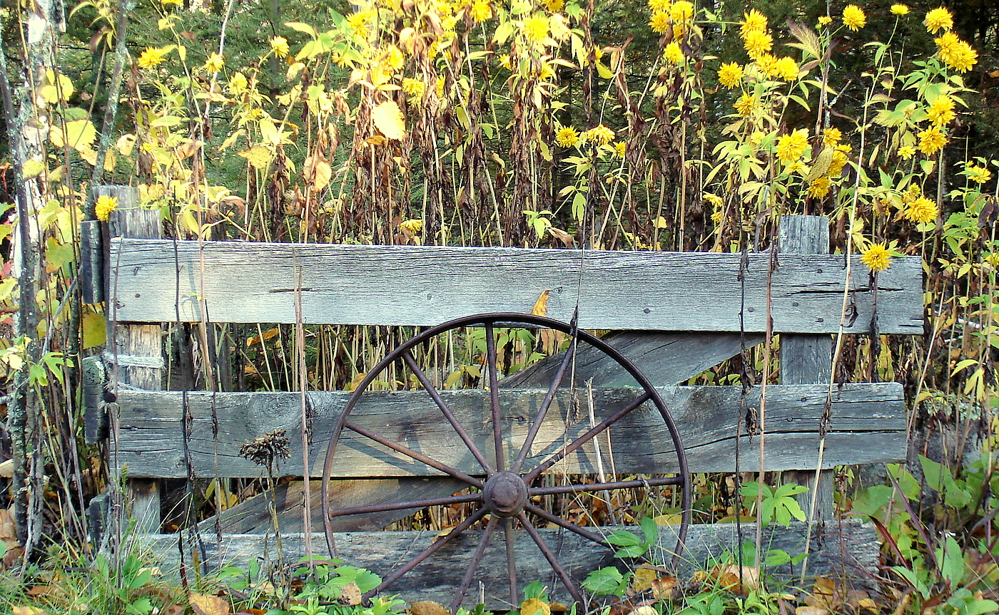 old wagon wheel and fence along cemetery road pluskwik paul